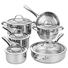 Cooks Standard Classic Stainless-Steel 11-Piece Cookware Set => Stop everything and read more details here! : Cookware Sets