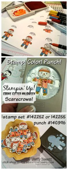 How to color and punch the Cookie Cutter Halloween scarecrow stamped images from…