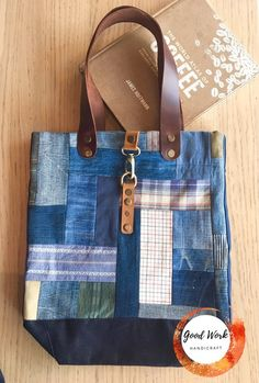 These are strong and durable patchwork denim tote made of fabric materials. The materials are from variety of denims , different textile and then were cut into different size squares and stitched together in order to make material panel. Inside it has big pockets with zipper and