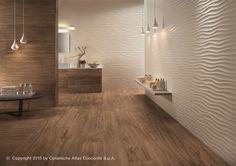 Rivestimento tridimensionale in ceramica a pasta bianca DUNE by Atlas Concorde