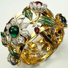 Corocraft 'Jewels of Fantasy' 'Carmen Miranda' Camellia Bangle Bracelet