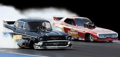 Love the 57 funny car about as aerodynamic as a barn but looks cool.
