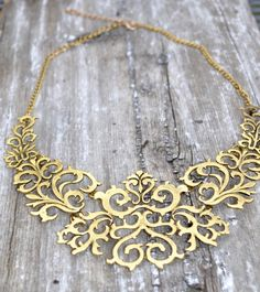 $12.00 Antique Gold Filigree Collar Statement Necklace, Choker Necklace, Vintage Jewelry, Boho bib necklace, 2016 Spring jewelry