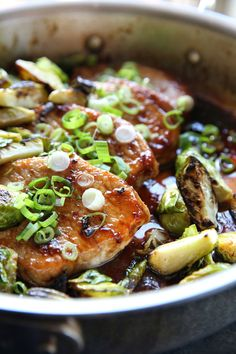 Ginger Glazed Pork Chops with Brussels Sprouts
