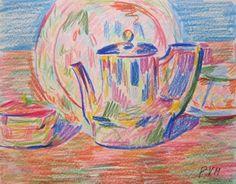 "Pablo Felipe Villegas Mañé ""La tetera"" Dibujo a lápiz color sobre papel  16 x 21 cm. Año 1974  Firmado abajo a la derecha   http://www.portondesanpedro.com/ver-producto.php?id=13125"