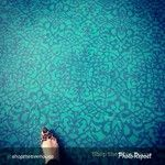 Stenciled concrete floors with Chalk Paint via Shopthetreehouse | Palace Trellis Moroccan Stencil | Royal Design Studio