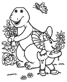 barney baby bop and bj too also get other free coloring book pages for kids - Barney Coloring Book
