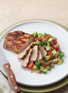Grilled Pork with Avocado Salsa.