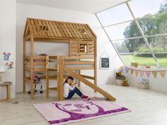 Hochbett-Spielbett-Spielhaus-Toms-Huette-Buche-massiv-mit-Rutsche-und-Dach