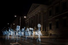Spanish citizens held the first hologram protest in history in order to protest without violating the new draconian guidelines of the National Security Act, the new amendments to the Penal Code and the Anti-terror law.
