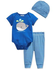 First Impressions Baby Boys' 3-Piece Whale Bodysuit, Pants & Hat Set, Only at Macy's