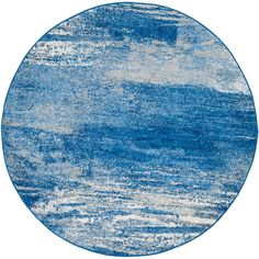 Adirondack Silver/Blue 4 ft. x 4 ft. Round Area Rug