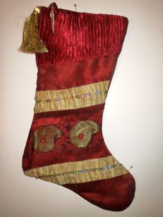 "Christmas Stocking Victorian Gold 18"" Holiday Xmas Tassel New!"
