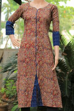 Indian Tops dresses Kalamkari Designs, Churidar Designs, Kurta Designs Women, Salwar Pattern, Kurta Patterns, Dress Patterns, Dress Neck Designs, Blouse Designs, Kalamkari Dresses