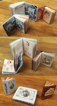 Photo of what my two Free Miniature Book Printies of very old stage makeup books look like made up.