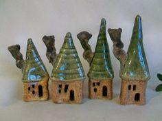Garden Fairy Houses - New Square Design - Set of 4 - Handmade, Wheel Thrown    http://www.etsy.com/listing/88758562/garden-fairy-houses-new-square-design