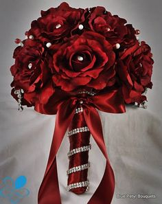 red and ivory brooch bouquet - Google Search