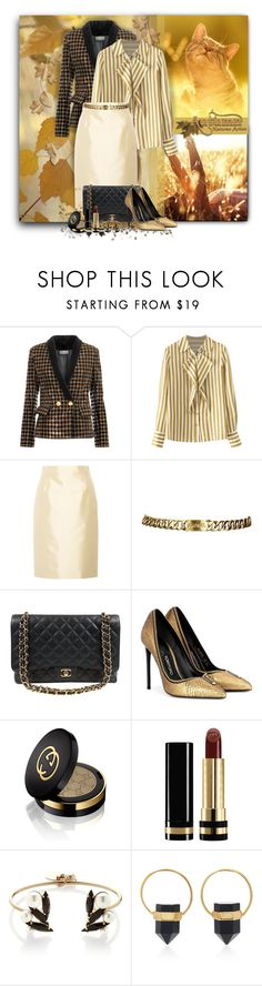"""Golden Moments of Autumn"" by loveroses123 ❤ liked on Polyvore featuring Balmain, Prada, Chanel, Tom Ford, Gucci, Anton Heunis and Isabel Marant"
