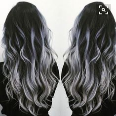 Black to gray silver balayage