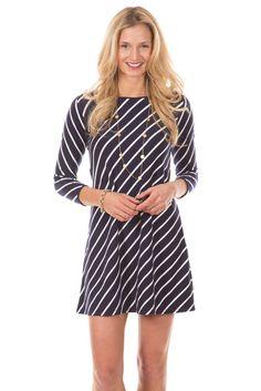 Duffield Lane Kendall Dress in Navy Stripes