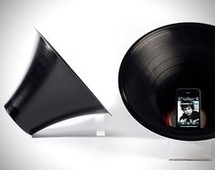 iPhone Change The Record Speaker    Rather than an actual speaker system, this 12 inch reshaped record created by British product designer Paul Cocksedge actually amplifies the sound put out by your iPhone.