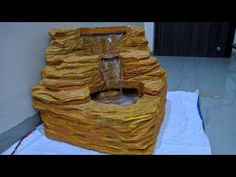 Hello friends, This is our new video on how to make a waterfall at home. In this video we are going to show whole process to make Corner fall or fountain ste. Patio Fountain, Diy Water Fountain, Indoor Water Fountains, Diy Waterfall, Waterfall House, Poured Concrete Patio, Cement Pots, Patio Wall, Backyard Patio
