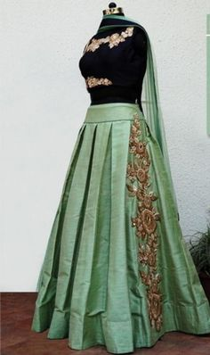 End Customization with Hand Embroidery & beautiful Zardosi Art by Expert & Experienced Artist That reflect in Blouse , Lehenga & Sarees Designer creativity that will sunshine You & your Party. Lehenga Gown, Lehnga Dress, Dress Skirt, Wedding Dress Patterns, Party Wear Dresses, Wedding Dresses, Lehenga Designs, Indian Attire, Indian Designer Wear