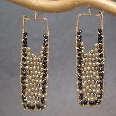 Drop Earrings with black spinel, bronze pearls, Bohemian 158 by CalicoJunoJewelry on Etsy https://www.etsy.com/listing/199834744/drop-earrings-with-black-spinel-bronze