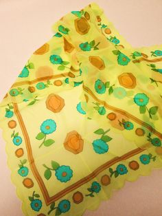 Vintage Sheer Yellow Oblong Floral Scarf by AlternatingPatterns