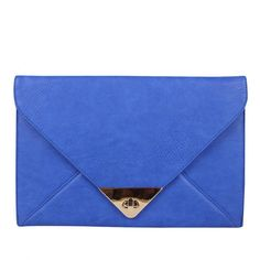White Leaf Womens Blue Envelope Clutch Bag With Chain ($53) ❤ liked on Polyvore