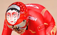 The helmet of Team China during the women's Team Sprint qualifying track cycling event at the Velodrome during the Rio 2016 Olympic Games in Rio de Janeiro on August 12, 2016.