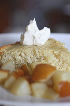 Buttermilk Spice Cake with Pear Compote by Nutmeg Nanny