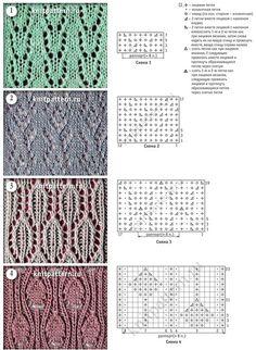 Связанные на спицах образцы узоров из мелких ажурных рисунков со схемами и описаниями. Страница 127. - 4 Апреля 2015 - Узоры спицами