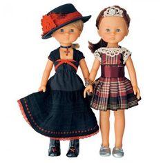 Poupées Claire et Marie en robes rouge et noir taffetas et dentelle