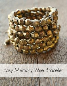 Easy Memory Wire Bracelet Tutorial by Artzy Creations using Ethiopian Brass Bicone Beads which can be found at www.happymangobeads.com