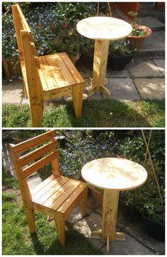 Pallet Bistro Table And Chair #Bar, #PalletChair, #PalletTable, #ReclaimedPallet, #Vintage