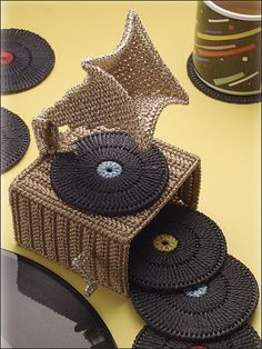 Plastic Canvas - Coaster Patterns - Other Patterns - Phonograph Coaster Set