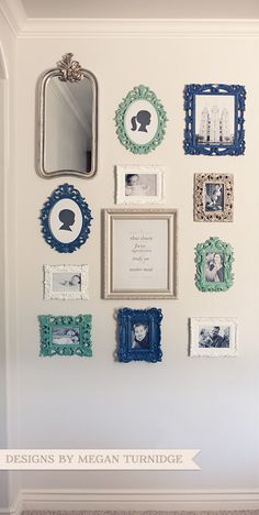 collage of frames - i could do this in pink grey , silver and white/cream