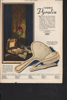 ORIGINAL Ladies Home Journal ad for Ivory Pyralin Brush, Mirror, Comb set; reverse LaFrance linens - Beauty 257 by PaperDhamma on Etsy https://www.etsy.com/listing/203903850/original-ladies-home-journal-ad-for