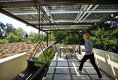 """Solar panels configured as a pergola not only generate nearly all of the house's electricity but also create a shady viewing deck. This \""""mi..."""