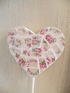 Shabby Chic Pink Floral Mosaic Plant Ornament by Once Upon A China Cabinet.