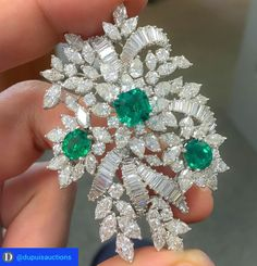 Emerald and Diamond Brooch by Primavesi & Kaufmann