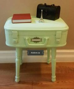 Adorable suitcase accent table