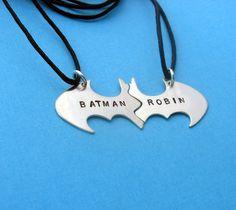 Batman Best Friend necklaces, Personalized Friendship sterling silver Black Cotton Cords