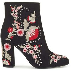 b196119ffcb Miss Selfridge DONNA Embroidered Ankle Boots ($125) ❤ liked on Polyvore  featuring shoes,