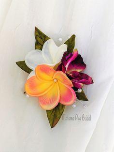 2 x White Purple Hibiscus Flower Hair Pins Clips Tropical Beach Hawaii Boho 3496