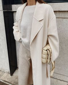 COS Stores Wool Mix Belted Coat , 12 Storeez Cashmere Knit, Chinti and Parker Cashmere Pants , Gucci Jordaan Loafers , Bottega Veneta Beige Cassette Padded Bag #neutralstyle #winterfashion Winter Mode Outfits, Winter Fashion Outfits, Autumn Winter Fashion, Fall Outfits, Fall Fashion Trends, Autumn Fall, Ootd Winter, Casual Winter, Winter Style
