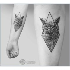 owl tattoo dotwork geometry