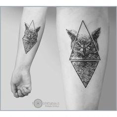 owl tattoo dotwork geometry