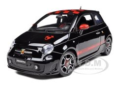 Click Image Above To Buy: 2008 Fiat 500 Abarth  Black 1/18 Diecast Model Car By Bburago